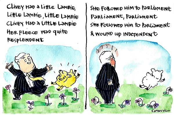 Fiona Katauskas' cartoon Clivey had a little Lambie depicts Clive Palmer leading Jacqui Lambie to parliament only to have things go awry