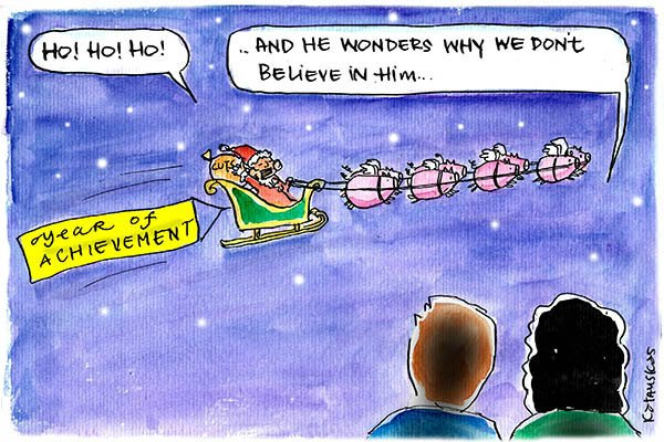 Fiona Katauskas cartoon shows skeptical voters looking on as Santa Abbott is towed on his sleigh by a team of flying pigs