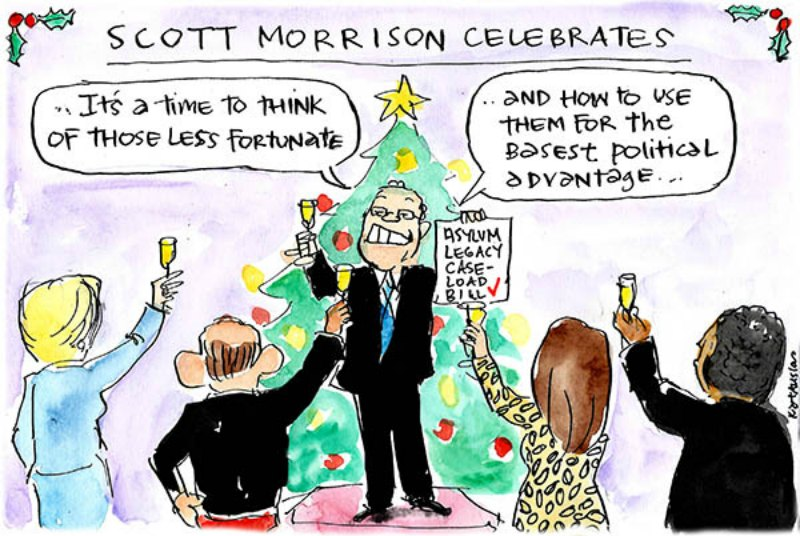 Scott Morrison toasts those less fortunate and gives thanks for the political advantage they offer
