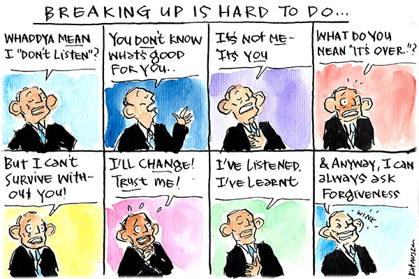 Cartoon depicting Tony Abbott struggling to become a listener