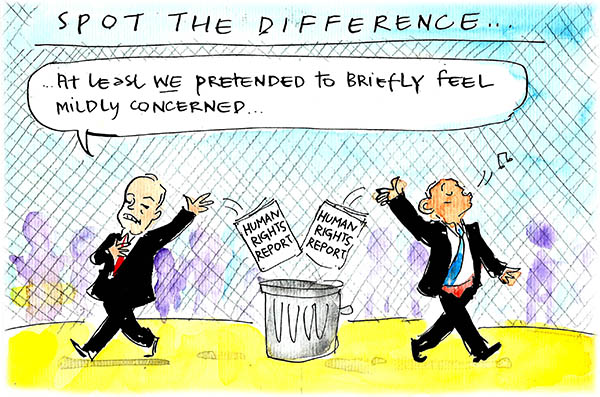 Fiona Katauskas' cartoon Forgetting the forgotten children shows Shorten and Abbott each tossing the Human Rights Report in the bin, while Shorten says 'At least WE pretended to briefly feel mildly concerned.
