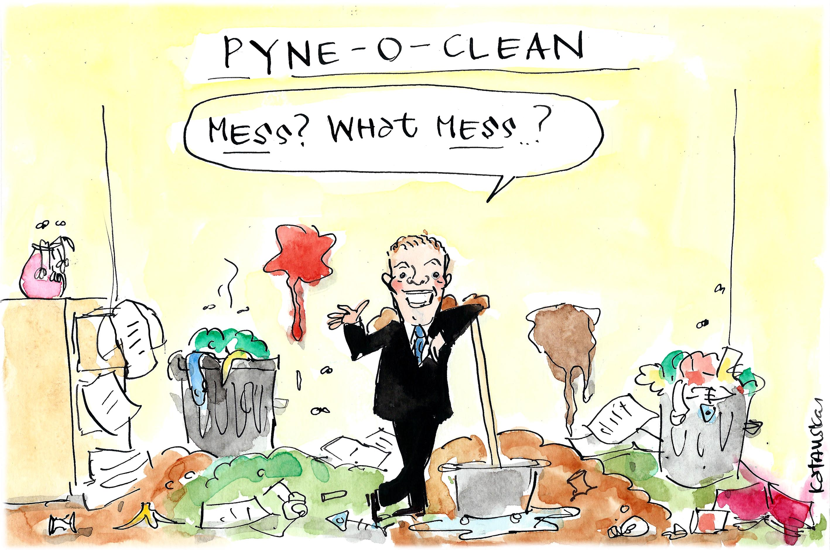 Fiona Katauskas' cartoon shows Christopher Pyne in denial over the Government's education reform mess