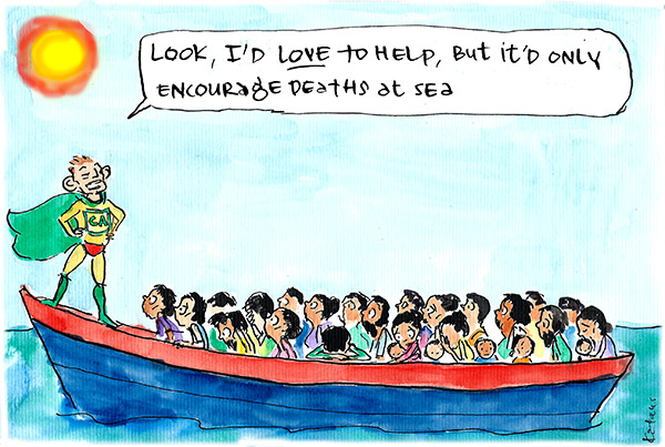 In 'Captain Australia (not) to the Rescue', Fiona Katauskas depicts Tony Abbott explaining his 'stop the boats' policy to desperate Rohingya refugees stranded in the ocean