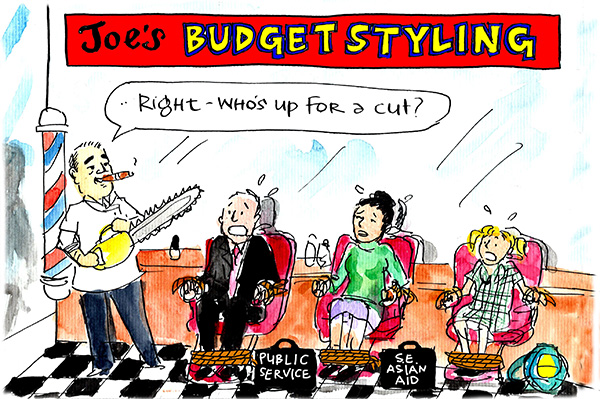Fiona Katauskas' cartoon Joe's Barbershop shows Joe Hockey getting ready for the victims of his cuts