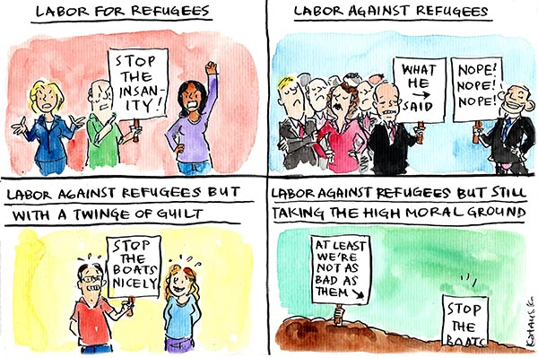 Fiona Katauskas' cartoon depicts Labor's various positions for and against refugees