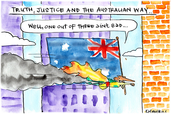 Fiona Katauskas' cartoon Down, Down and Awaaaay reflects on modern day politicians taking liberties with truth and justice