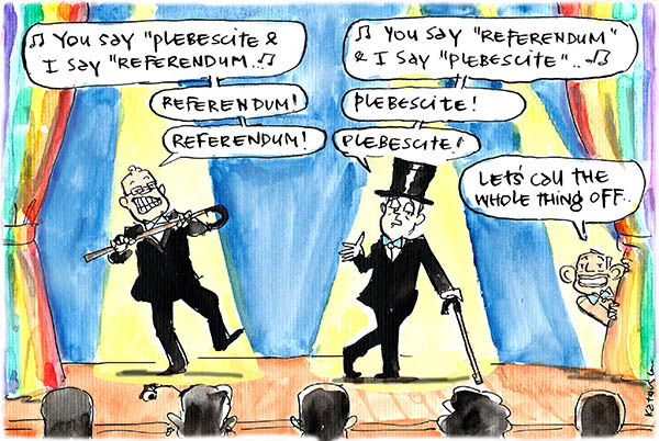 Fiona Katauskas' cartoon The Showstopper depicts Coalition indecisiveness about a popular vote for marriage equality