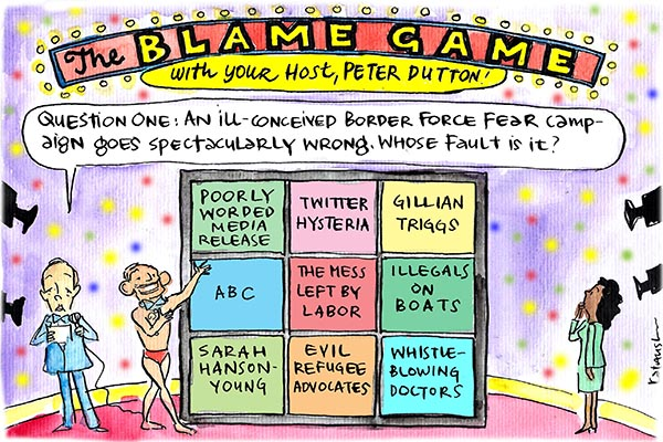 Fiona Katauskas' cartoon On With The Show depicts quizz master Peter Dutton presiding over Tony Abbott's picking who to blame