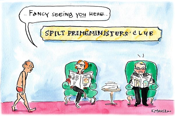 Fiona Katauskas' cartoon 'Join the Club' depicts Tony Abbott finding Kevin Rudd and Julia Gillard upon his arrival at the Spilt Prime Minister's Club