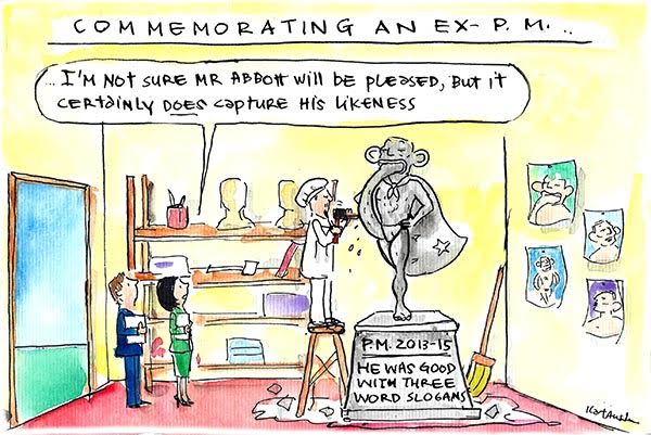 In Fiona Katauskas' latest cartoon a sculptor presents a statue of Tony Abbott with his foot in his mouth, declaring it to be his best likeness