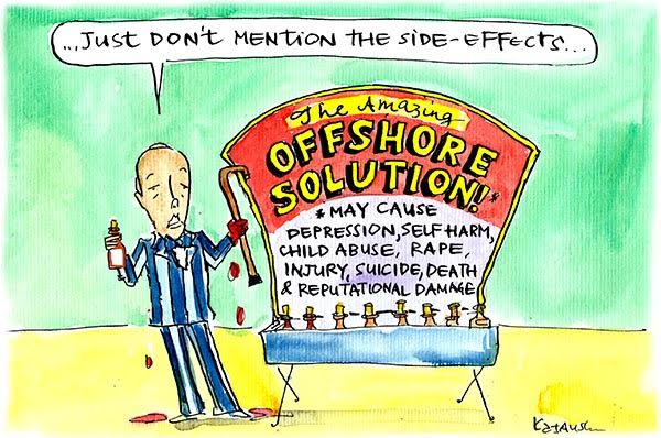 In Fiona Katauskas' latest cartoon Peter Dutton is portrayed as a fairground quack who doesn't want customers to know about the negative side effects of his boat-stopping cure.