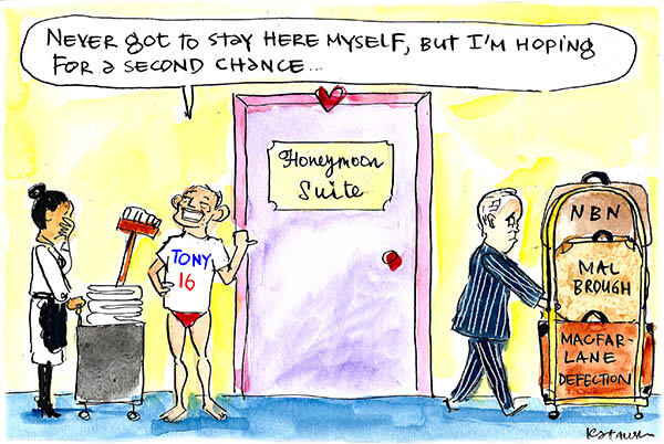 In Fiona Katauskas' latest cartoon Malcolm Turnbull is expelled from the honeymoon suit carrying baggage labelled NBN, Mal Brough and Macfarlane Defection. Tony Abbott stands by hoping for another turn. imgLimit