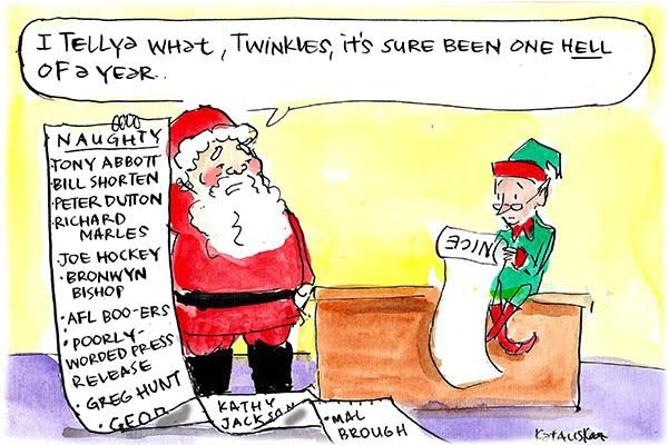 In Fiona Katauskas' latest cartoon Santa's 'naughty' list includes Toby Abbot, Bill Shorten and Bronwyn Bishop, among others