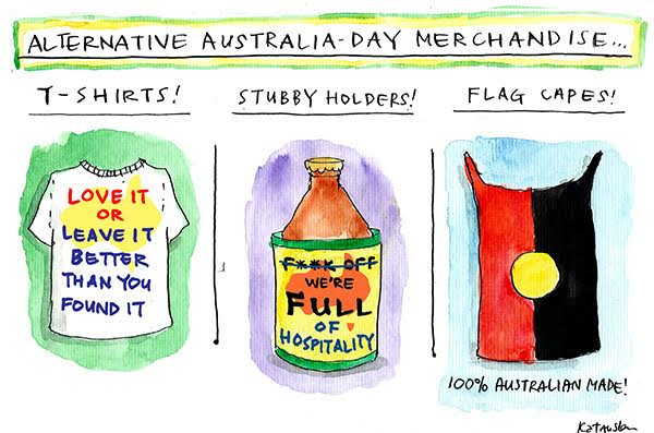 Fiona Katauskas' latest cartoon suggests alternative, anti-racist Australia Day merchandise