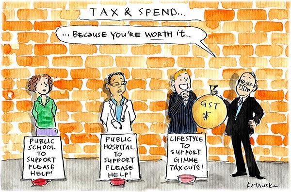 Scott Morrison presents GST revenue to a well-off person as a tax cut instead of to representatives of a public school and hospital. Cartoon by Fiona Katauskas