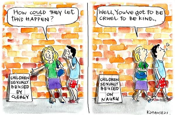 People react with shock to headlines about clergy sex abuse and acceptance of headlines about Nauru sex abuse. Cartoon by Fiona Katauksas