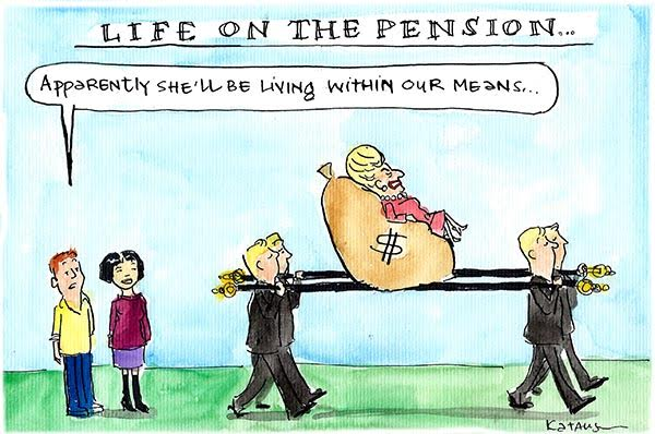 Bronwyn Bishop carried on a litter cushioned by a sack of money. Cartoon by Fiona Katauskas