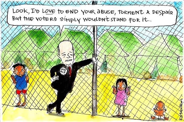 Bill Shorten apologises to detained asylum seeker children for not ending their misery, because his voters just wouldn't stand for it. Cartoon by Fiona Katauskas