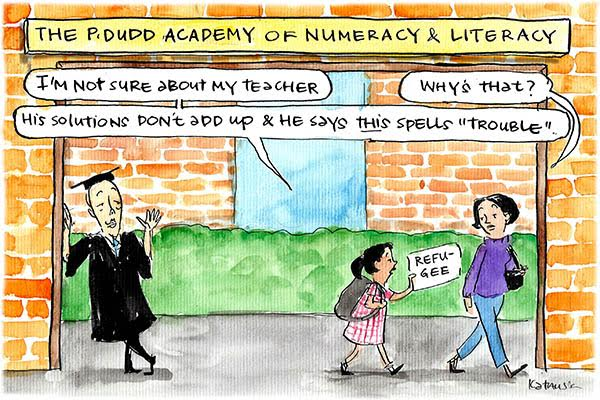Young girl walks away from Peter Dutton dressed as a teacher, telling her mother he told her 'refugee' spelt 'trouble'. Cartoon by Fiona Katauskas