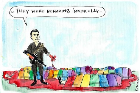 Orlando shooter Omar Mateen stands over the bodies of his victims which are sheathed in rainbow flags, and objects that they were 'behaving imorrally'. Cartoon by Fiona Katauskas