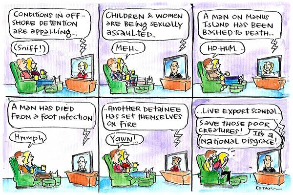 A man and woman are bored by news about asylum seeker abuse but appalled by live export scandal. Cartoon by Fiona Katauskas