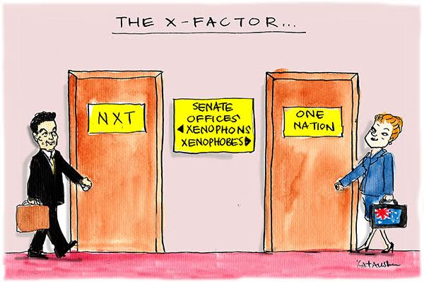 The new Senate: Nick Xenophon walks through a door marked Xenophons, Pauline Hanson walks through one marked Xenophobes. Cartoon by Fiona Katauskas