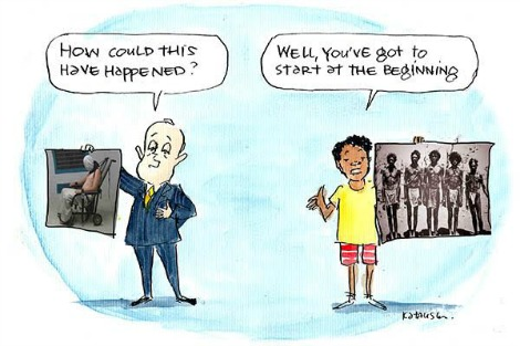 Cartoon by Fiona Katauskas links abuse at Don Dale juvenile detention centre with history of violence against Aboriginals.