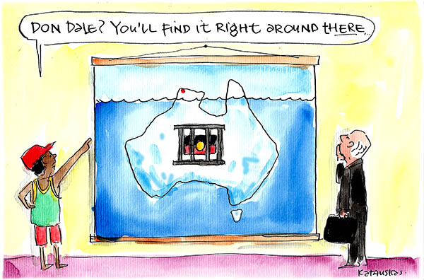 Cartoon by Fiona Katauskas portrays Australia as an iceberg, with Don Dale detention centre at the tip and a prison with an Aboriginal flag submerged beneath the water.