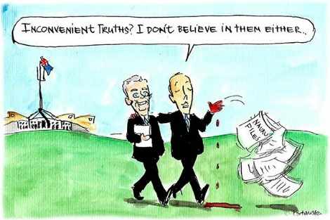 Peter Dutton discards Nauru Files and says he doesn't believe in inconvenient truths. Cartoon by Fiona Katauskas