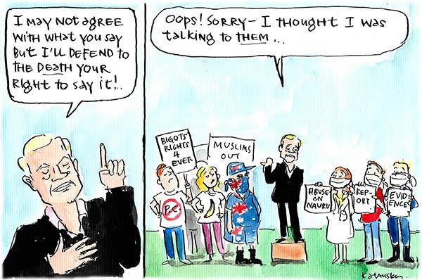 Andrew Bolt is selective about whose free speech he is defending. Cartoon by Fiona Katauskas