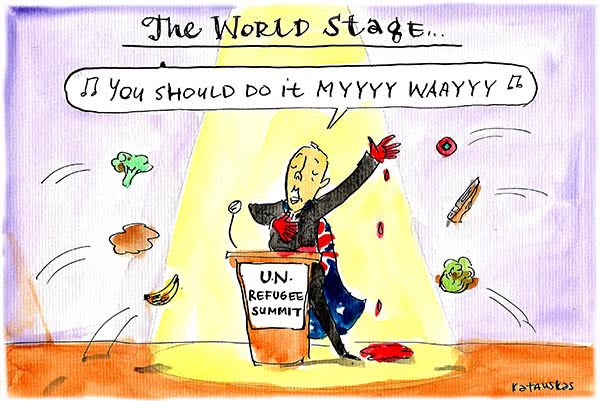 Peter Dutton with blood soaked hand stands on 'the world stage' and sings 'you should do it my way'. Cartoon by Fiona Katauskas