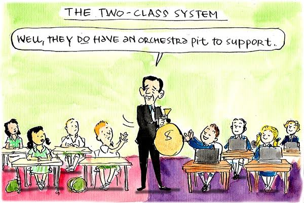 Education minister Simon Birmingham hands bag of money to private school students saying 'They do have an orchestra pit to support'. Cartoon by Fiona Katauskas