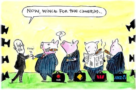 Malcolm Turnbull slaps the wrist of a banker who looks like a pig. Cartoon by Fiona Katauskas