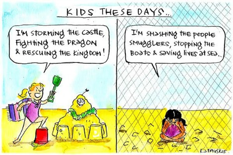 Contrasts a free child playing on the beach with a detained child sitting forlornly behind a fence. Cartoon by Fiona Katauskas