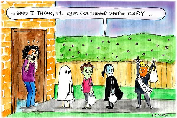 Woman is frightened by a President Trump Halloween costume. Cartoon by Fiona Katauskas