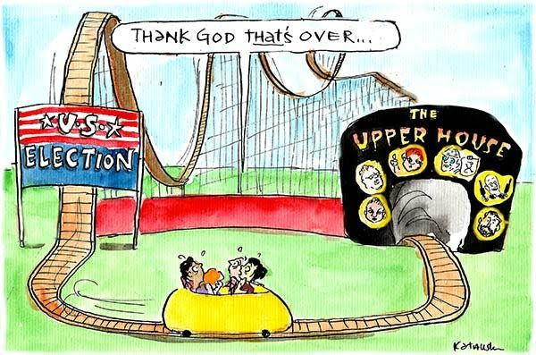 Fun park patrons head from the roller-coaster of the US election to the ghost train of the Australian Upper House. Cartoon by Fiona Katauskas