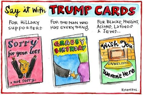 Cartoon by Fiona Katauskas advertises 'Trump cars' with slogans such as 'Grabby Birthday' and 'Wish you weren't here'