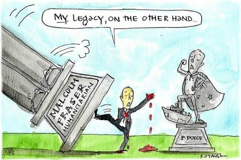 Bloody handed Peter Dutton kicks over a statue memorialising Malcolm Fraser as a humanitarian. Cartoon by Fiona Katauskas