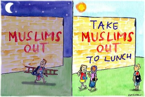 Graffiti artist writes Muslims Out on a wall. The next day someone has changed it to Take Muslims Out To Lunch. Cartoon by Fiona Katauskas