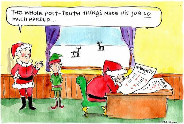 Santa laments the difficulty of writing a 'naughty' list in the post-truth era. Cartoon by Fiona Katauskas