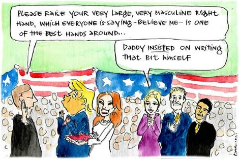 Donald Trump is sworn in with effusive praise for his large and manly hands.