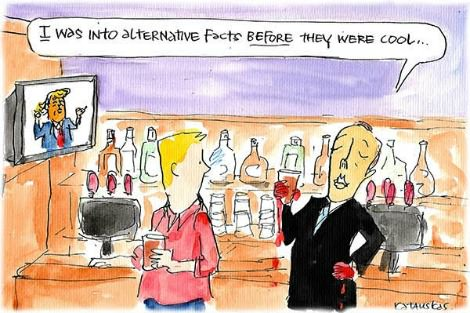 Peter Dutton brags that he was into alternative facts before they were cool. Cartoon by Fiona Katauskas