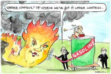 Malcolm Turnbull pours gasoline on Pauline Hanson shaped fire. Cartoon by Fiona Katauskas