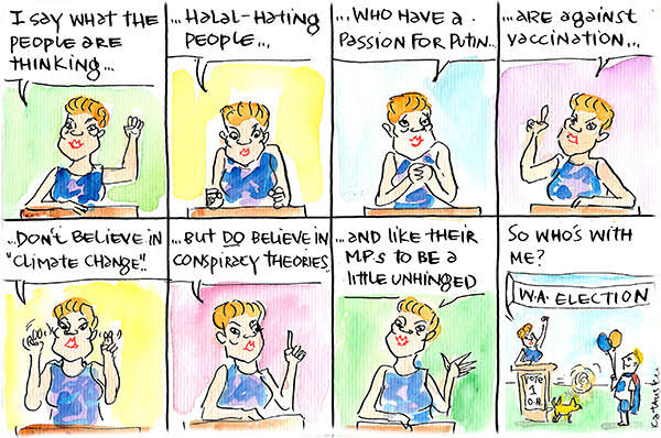 Pauline Hanson speaks for all people, at least those who agree with her fringe views. Cartoon by Fiona Katauskas