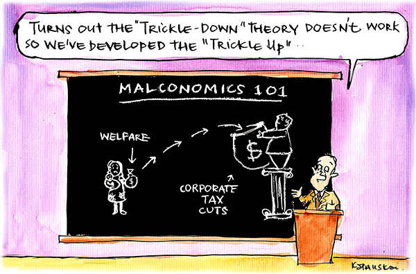 Malcolm Turnbull illustrates the 'trickle up' effect that sees welfare cuts going towards corporate tax cuts. Cartoon by Fiona Katauskas