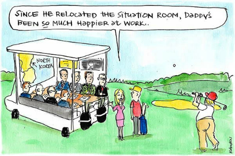 Donald Trump has relocated the situation room to a golf course, and is much happier. Cartoon by Fiona Katauskas