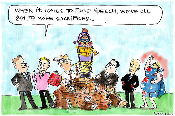 Promoters of free speech burn Yassmin Abdel-Magied at the stake. Cartoon by Fiona Katauskas